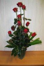 Růže aranžmá sklo